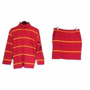 Vtg 90s Adrienne Vittadini Stripe Top Skirt Set